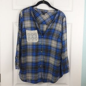 Lucky Brand Plaid Lace Pocket Shirt Sz. S